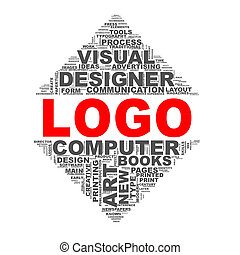 Mirror triangle design wordcloud tags logo