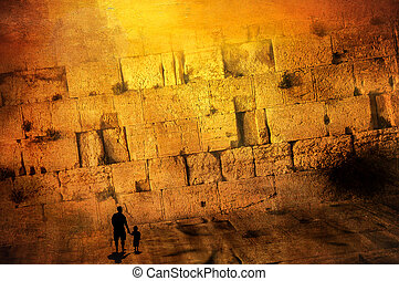 Silhouette of Father and Son in front of the western wall -...