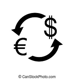 Currency exchange sign. Euro and US Dollar. Flat style black ico