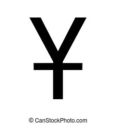 Chinese Yuan sign. Flat style black icon on white.