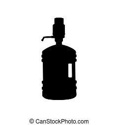 Plastic bottle silhouette with water and siphon. Flat style...