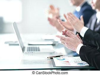 Male hands applauding after presentation of project at...