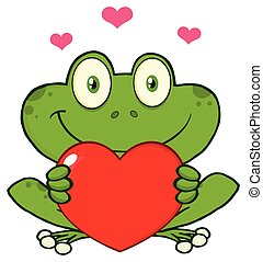 Cute Frog Cartoon Mascot Character Holding A Valentine Love...