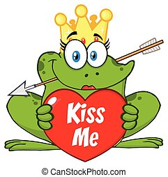 Princess Frog Cartoon Mascot Character With Crown And Arrow Holding A Love Heart With Text Kiss Me