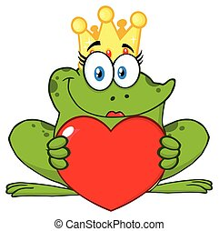 Smiling Princess Frog Cartoon Mascot Character With Crown Holding A Love Heart
