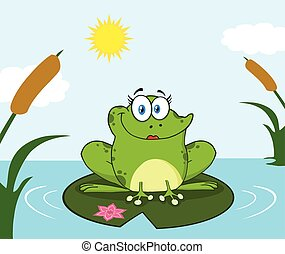 Smiling Frog Female Cartoon Mascot Character Perched On A Pond Lily Pad In Lake