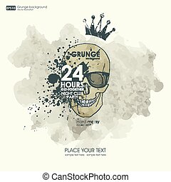 Background for poster in grunge style with skull crown. Grunge print for t-shirt. Abstract Texture background.