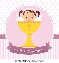 Angel girl with calyx - my first communion card. Angel girl...