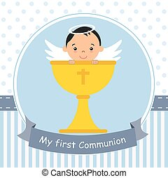 Angel boy with calyx - my first communion card. Angel boy...