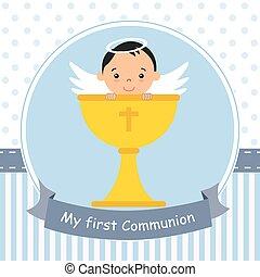 Angel boy with calyx - my first communion card. Angel boy...