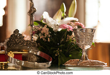 preparation for wedding ceremony - Chalice and wedding crown...