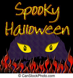 Halloween yellow eyes - spooky yellow eyes and flames black...