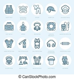 Personal protective equipment line icons. Gas mask, ring...