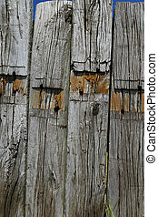 background weathered wooden beams - Background of old and...