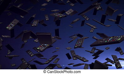 A lot of remote controllers falling down on a dark blue...