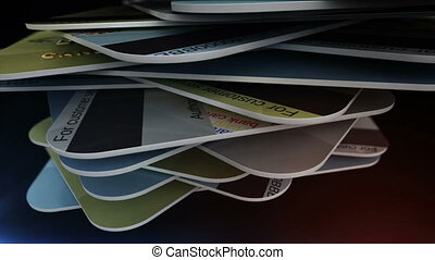 """A pile of credit cards."" - ""Closeup of a pile of credit..."