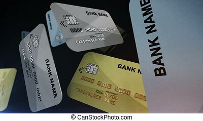 """Credit cards hanging in the air"" - ""Color Credit cards..."