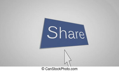 """Share and hand cursor"" - ""A blue button Share and hand..."
