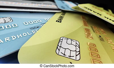 """A few color credit cards. Seamless loop."" - ""A few color..."