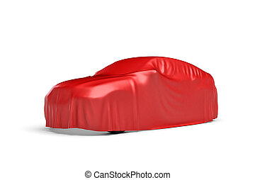3d rendering of a car covered by red cloth in 45 degrees...