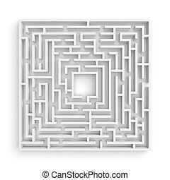 3d rendering of a white square maze on white background in...
