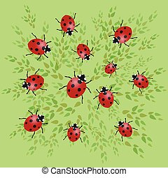 Ladybugs vector illustration with green leafs on a green...