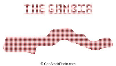 The Gambia Africa Dot Map - A dot map of The Gambia isolated...