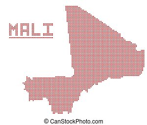 Mali Africa Dot Map - A dot map of Mali isolated on a white...