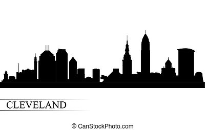Cleveland city skyline silhouette background, vector...