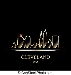 Gold silhouette of Cleveland on black background, vector...