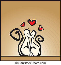 Cats in love - Vector illustration of cats in love