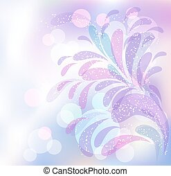 Abstract ornament on blur background in pastel colors