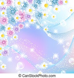 Floral magic background with bubbles and flowers