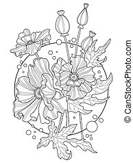 Poppy flowers coloring book vector illustration. Tattoo...