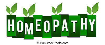 Homeopathy Green Stripes With Leaves - Homeopathy concept...