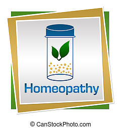 Homeopathy Green Blue Brown Squares - Homeopathy concept...