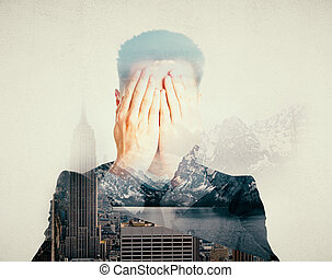 Stress concept - Man covering face with hands on abstract...