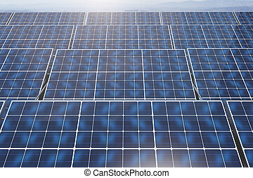 Solar panels on sky background