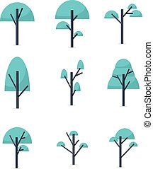Collection of tree style various vector