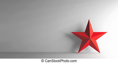 Red star on grey background, three-dimensional rendering, 3D...