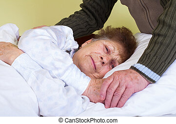 Invalid elderly woman - Close up picture of an invalid woman...