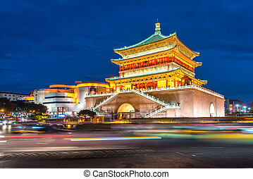 Xian bell tower (chonglou) in Xian ancient city of China at...