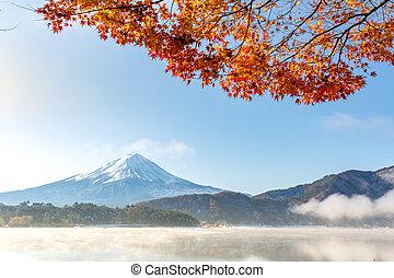 Mt. Fuji in autumn Japan - Mt. Fuji in autumn at Kawaguchiko...