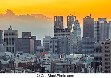 Tokyo Shinjuku with Fuji - Tokyo Shinjuku Skyline cityscape...