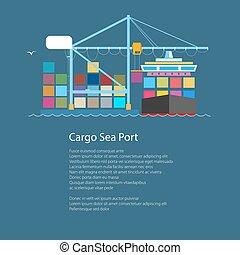 Cargo Container Ship and Text, Unloading Containers from a...