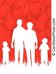 Happy family - abstract vector illustration with hearts.