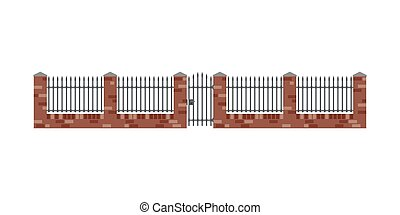 Brick fence and gate in flat style. Brickwal with metal...