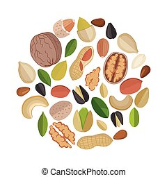 Nuts Composed in Circle Shape. - Various nuts composed in...