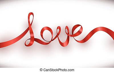 Love red ribbon with white background
