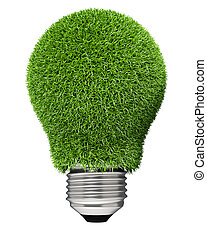 Light bulb covered with green grass.
